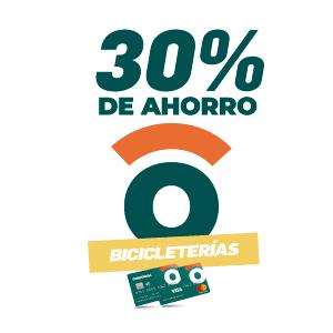 30% de ahorro en bicicleterías