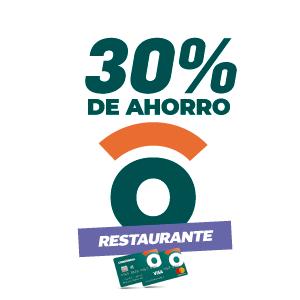 30% de ahorro en restaurantes