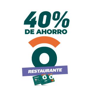 40% de ahorro en restaurantes